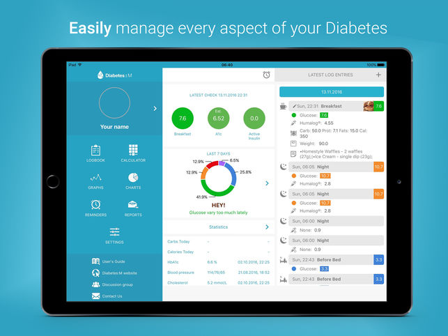 Diabetes M interface